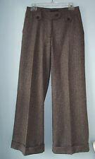 Hennes Classic Wide Leg Cuffed Wool Menswear Herringbone Pant Trouser Women 6