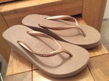 Women's Havaianas High Wedge Flip-Flops Size 5 Rose Gold NEW