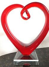Murano Glass Deep Red Heart Sculpture Art Italy Crystal Clear Base Collectibles