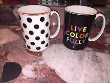 NWT Lenox Kate Spade LIVE COLORFULLY Spots Dot Holiday Gift Coffee Tea Mug Set 2