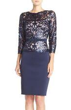 $348 Tadashi Shoji Blue Three-quarter Sleeve Sequin Lace Bodice Dress SIZE 6 NWT