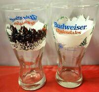 2 Vintage 1989 BUDWEISER Clydesdale Christmas Pilsner Beer Glasses 7'' ANHEUSER