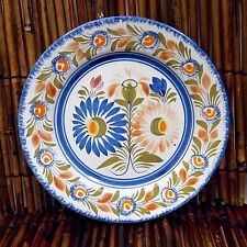 "Quimper Plate 8.5"" Henriot France Wall Pottery Flowers Floral HTF Vintage Piece"