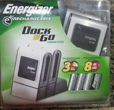 New Energizer E2 Dock & Go Rechargeable + (4) AA Batteries Portable Charging Pod