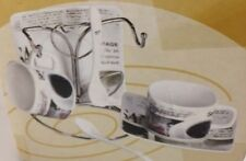 Elica Home Trends Espresso Cup and Saucer Set with Metal Stand 7 pc. new retro