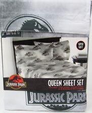 QUEEN SIZE - Jurassic Park Themed Sheet Set 1 Flat 1 Fitted 2 Pillowcases World