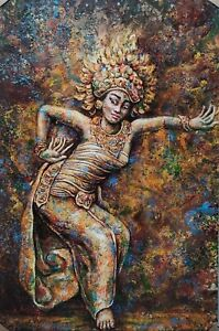 Piece of Bali Colorful Traditional Legong Dancer Contemporary Painting Wall Art