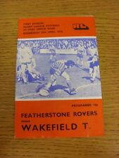 25/04/1979 Rugby League Programme: Featherstone Rovers v Wakefield Trinity