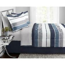 Mainstays Stripe Bed In A Bag Bedding, Full, Blue
