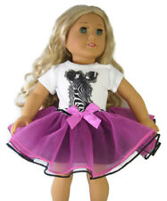 "Berry Colored Tutu & Zebra T-Shirt Outfit for 18"" American Girl Doll Clothes"