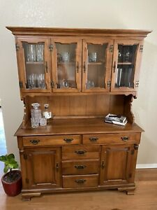 Tell City Chair Company Maple Wood Hutch China Cabinet Young Republic 8390