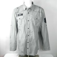 BKE Vintage Mens Western Shirt Size XL Athletic Fit Gray Striped Pearl Snap (W2