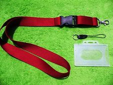 Maroon Lanyard with Detachable Buckle &  Clear ID Card Holder New UK made