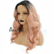 Anogol Long Wavy Pink Synthetic Wig Dark Roots Body Wave Wigs Women's Party Hair
