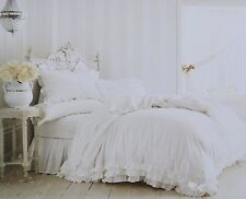 RACHEL ASHWELL Simply Shabby Chic White Poplin Ruffle Lace Duvet Set TWIN NEW !!