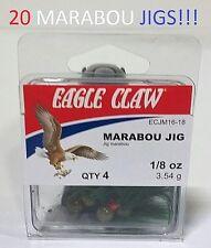 20 Eagle Claw 1/8oz. Olive Ball-Head Marabou Jigs (ECJM16-18) EB100104