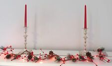Xmas Cone Berry foliage garland Red 20 LED Battery lights - INDOOR/OUTDOOR