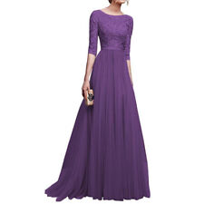 Women Lace Half Sleeve Dresses V Neck Long Maxi Evening Prom Gown 7 Colours