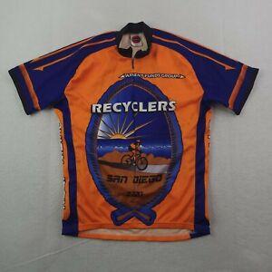 World Jersey Cycling Jersey Mens 2XL XXL Orange Blue 3/4 Zip Recycler Beach