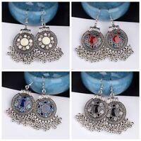 Fashion Vintage Antique Bohemian Hook Carved Tassel Beads Dangle Ethnic Earrings
