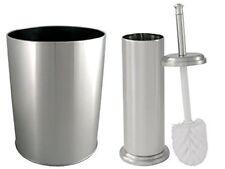 Toilet Brush With Canister and Waste Basket Set Brushed Nickel Finish