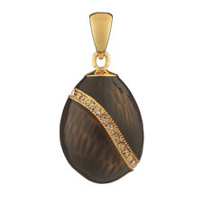 Faberge Egg Pendant / Charm with crystals 1.9 cm black #2-1503-13