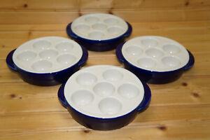 """Hall China Cobalt (4) Escargot / Egg, 7"""""""