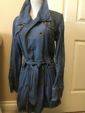 Style And Company Long Denim Button Down Belted Trench Coat Small