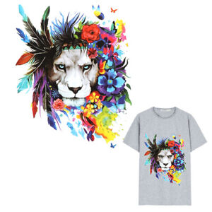 feather lion Patches Heat Transfer Iron On Patch Washable Clothes Stickers F~