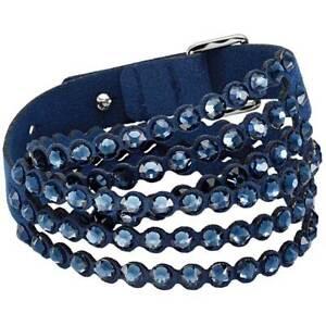 Swarovski Women's Bracelet Power Alcantara Fabric Crystals Double-Wrap 5511697