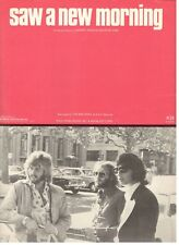 """THE BEE GEES """"SAW A NEW MORNING"""" SHEET MUSIC-PIANO/VOCAL/GUITAR/CHORDS-1973-NEW!"""