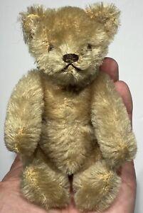 "Antique Miniature Steiff Jointed 6"" Brown Teddy Bear w/ Original Steiff Button"