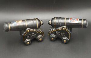 Civil War Cannon's Salt & Pepper Shakers Souvenir - North & South Flags