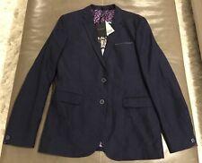 NWT Ted Baker London Linen Blend Herringbone Blue Blazer Jacket 5 42L $535