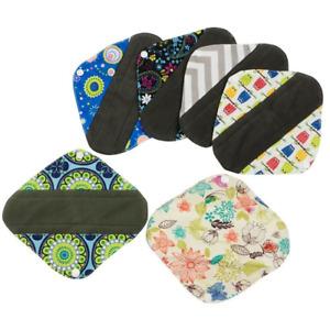 6 PCS Women Menstrual Cloth Pads Reusable Panty Liners Sanitary Washable Cloth