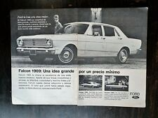 Vintage 1969 Ford Falcon Spanish Espanol Two Page Original Ad RARE
