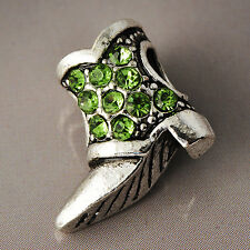 White Gold Filled Womens Green Crystal Silver Shoe Stone Pendant For Necklace