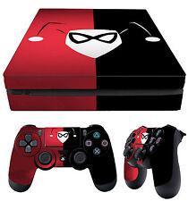 PS4 Fino Piel Harley Quinn rojo y negro + MANDO Pegatinas vinilo NUEVO Lay Plano