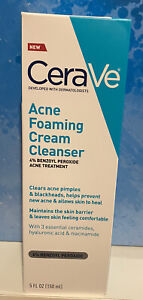 CeraVe Acne Foaming Cream Cleanser 5 Fl oz. Facial Cleanser 4% Benzoyl Peroxide