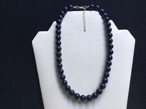Women's Short Navy Blue Bead Necklace
