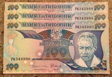 Lote de 3 X Tanzania billetes. 100 chelines. fechada 1986. publicaciones seriadas consecutivos.