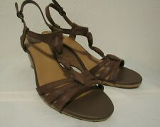 Clarks Ladies BROWN Leather Cork Wedge High Heals T-Strap Slingback Sandals 11