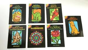 Lot 7 Dover Little Stained Glass Coloring Book Animal Flower Fish Dinosaur Bird