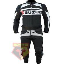 SUZUKI GSX BLACK MOTORCYCLE MOTORBIKE 2 PIECE COWHIDE LEATHER ARMOURED SUIT