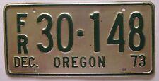 Oregon 1973 RENTAL TRAILER License Plate NICE QUALITY # FR 30-148