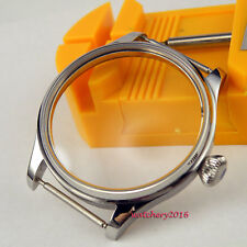 44MM Parnis 6497 6498 Hand Winding Polished Stainless Watch Case free shipping