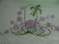 Vintage Riegel Pair Embroidered Pillowcases Green Lavender on White with Box
