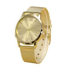 New Fashion Women Ladies Wrist Watch Gold Stainless Steel Mesh Band Dress Watch