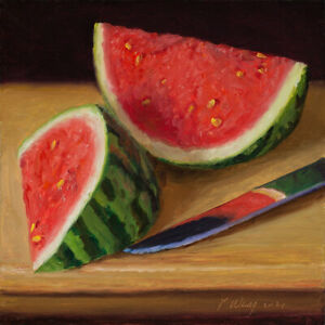 Original still life oil painting a day realism watermelon slices 8x8 inch Y Wang