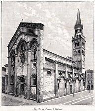 Crema: il Duomo. Cremona. Lombardia. Stampa Antica + Passepartout. 1899